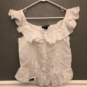 Ralph Lauren   white ruffled blouse